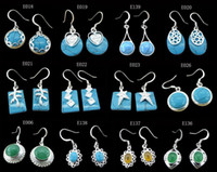 Wholesale MIX STERLING PLATED SILVER GREEN BLUE TURQUOISE STONE EARRINGS JEWELRY