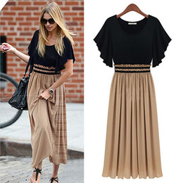 Wholesale-New Fashion Summer Vintage Ruffles Women Dress Pleated Chiffon Short Sleeve Dress Butterfly Sleeve Ankle-Length Dress Lady