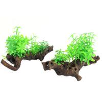 driftwood - 2Pcs Aquarium Fish Tank Emulation Grass Driftwood Decor Green Brown cm High