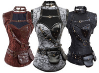 Wholesale Plus size Steampunk Corset top New Gothic Steel Boned Corsets Bustier Brown High Neck Corselet Qlingerie Brand clothing