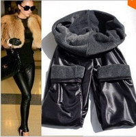 Cheap Wholesale-Winter women's thick leggings, warm pants, leather pants, Fashion 2015,New design,Easy to match,Good Qulity