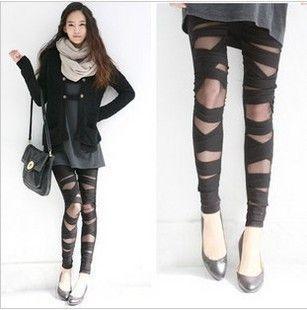 Wholesale-2015 Ripped Cut-out Bandage Black women Lady Leggings trousers Sexy Pants Sexy Stretch Vintage Legging Black Pants W59