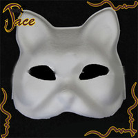 big cat paintings - party mask Big Sale Cat Hand painted White DIY mask Top Quality with Elastic Band paper pulp masks IF103C