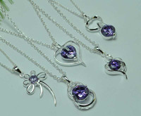Wholesale sterling silver Zircon Pendant charm Chain Necklace