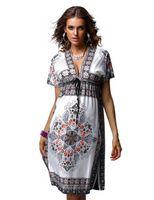 hippie clothing - women Vintage Paisley Printed V Neck Dress lady Hippie Boho Beach clothes clubwear plus size XXL