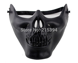 Wholesale Men Halloween Skeleton CS Half Face Mask Airsoft Game Hunting Biker Ski Face Gear Masks Cheap Masquerade Masks