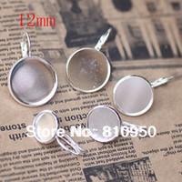 bezels - Fashion jewelry settings MM silver plated brass round earrings hoop tray setting bezels
