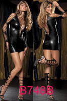 Wholesale Hot Sexy Underwear Faux Leather Clubwear Costume Halter Strappy Bustier Dress amp Thong PPC