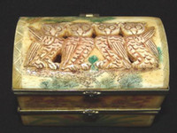 carved ox bone - Handcraft Carved Vivid ox Bone Owl Jewelry box
