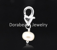 Wholesale Freshwater Pearl Clip On Charms Fit Chain Bracelet B13772