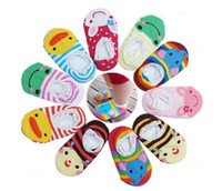 baby walk age - Baby knitted socks anti slip autumn cotton sock toddler home cute animals designs for walking retail Age M to M