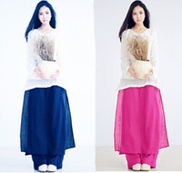 Cheap Wholesale-Woman full long Casual Loose Elasticated Pants cotton Soft Trousers Pant skirt Fashion Loose Pants black blue red green S-4XL