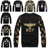 boy london - Wholesales fall fashion for women men boy london hippie sweatshirt black star letter print pullover skull street wear