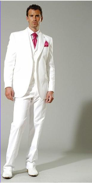White Men's Suits Groom Tuxedo Prom Clothing <jacket pants tie