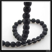 Wholesale Black Volcanic Lava Gemstone Loose Beads Fit Jewelry DIY mm strings