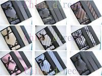 Wholesale Mens Ties Set NeckTie Hanky cufflinks Handmade New with box sets