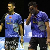 li ning - New Li Ning Badminton table tennis Men Chinese national flag Shirt blue yellow