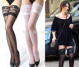 Wholesale Alluring Sexy Transparent Elastic Thigh High Silk Stocking Women Ultrathin Knee length Silk Stockings colors Black Red White