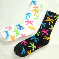 Cheap Wholesale-Men Women brand new fuck it with colorful Coconut tree Long Thick Socks fashion Hiphop Cotton Skateboard fixed gear Sport Socks
