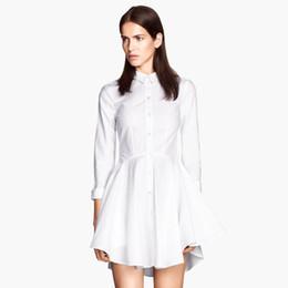 Wholesale-Fashion elegant OL white shirt dress long-sleeve new Autumn winter pleated dresses haoduoyi