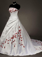 Wholesale pulchritude White amp Red Wedding Dress Gown