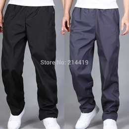 Wholesale-New Summer Mens Pants Sport Running Joggers Outdoors Men Sweatpants Trousers Black Grey Jogging