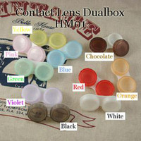 Wholesale contact lens case dual box double case contact lens box lens soaking case HM01 model number