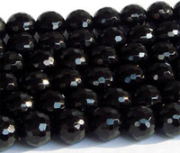 "Stone Hearts, Love Black Discount Wholesale Natural Genuine Black Tourmaline Faceted Round Loose Stone Beads 3-20mm DIY Jewelry Necklaces or Bracelets 15.5"" 0160"