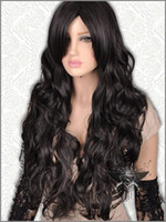 Wholesale Beautiful Black Gothic Lolita Long Wavy Animation Full Wig Long black wig black bob wig curly wigs