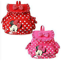 Wholesale-cute backpacks bow wave point Minnie Micky Mouse Baby Children kids Backpacks Cartoon school bags for girls mochila 41202