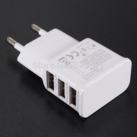 achat en gros de onglet galaxie eu chargeur-Gros-3 ports USB Plug européenne UE Accueil Voyage mur AC Power Adapter Chargeur pour iPhone iPad Sumsang Galaxy S4 S5 Remarque 3 4 Tab 7 10.1