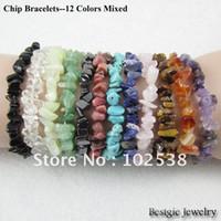 Precio de Chip stone bracelet-Piedra natural mayor-chip Pulsera barroca, piedra Tumble grano de la viruta Pulsera - 12 colores Choice (colores mezclados), envío expreso libre!