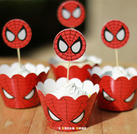 cupcake toppers - The Avengers Spider man cupcake wrappers amp toppers picks decoration kids birthday party supplies wraps toppers
