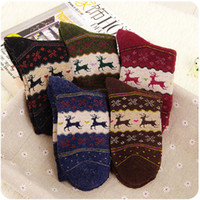 wool socks - pair Christmas Snowflake Deer Design Womens Wool Socks Warm Winter Cute Comfortable Colors L033512