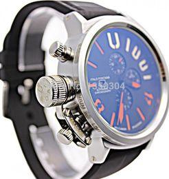 Wholesale New Mens Automatic CAB White Dial Watches Boat Flightdeck Big mm CAS Black U Rubber CHRONOGRAPH U1001
