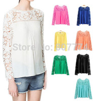 Cheap Wholesale-9 Colors! 2015 New Tops Women Blouse Lace Chiffon Long Sleeve Blouse Plus Size blusas de manga comprida blusa renda XXXL T45018