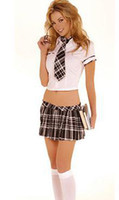 Wholesale Hot Andrew Sexy School Girl Costume Lingerie Outfit Tie Shirt amp Pleated Skirt PPC