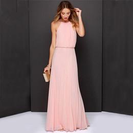 Wholesale-Vestidos De Festa Woman Clothes 2015 Solid Pink slim Sleeveless Halter Pleated Backless Fashion Designs Maxi Dress hot sale