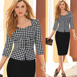 Wholesale-New women elegant uk dresses office fashion button full sleeve party women work dress 2015 pencil bodycon wear plus size XXL