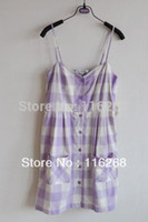 amo dresses - dream purple plaid amo HARAJUKU spaghetti strap one piece dress loli Japanese condole belt gallus Western style clothes