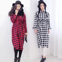 Cheap Wholesale-Fashion Autumn Winter Stylenanda Women Plaid Hem Split Ends Single-Breasted Pocket Turn-down Collar Shirt Mini One-Piece Dress