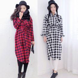 Wholesale Fashion Autumn Winter Stylenanda Women Plaid Hem Split Ends Single Breasted Pocket Turn down Collar Shirt Mini One Piece Dress