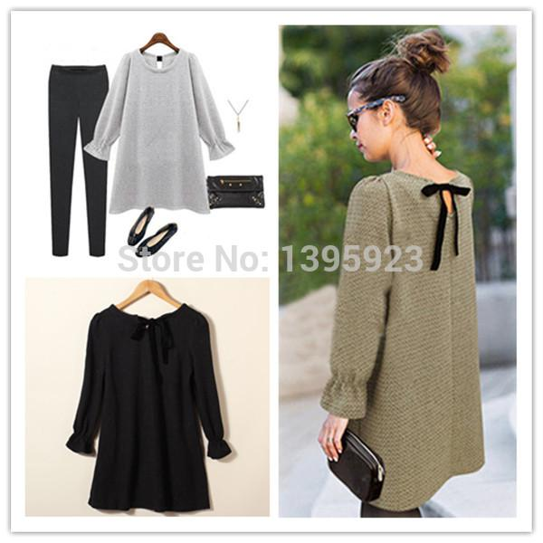Wholesale-New Brand 2015 Autumn Winter Women New Fashion Long Sleeve Bow Design Mini Dress O-neck A-line Knit Short Dress 3 Colors