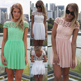 Wholesale-2015 Fashion Women Summer Dress Crochet Embroidered Patchwork Girl Pleated Tulle Chiffon Lace Backless Sexy Party Club Dresses