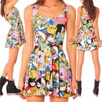 adventure ball - New Women Summer Dress Black Milk Adventure Time Bro Ball Skater Dress Adventure Time Dresses Plus Size Women Clothing