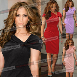 Wholesale-New 2015 Womens Celebrity Elegant Vintage Pinup Bow Ruch Tunic Business Casual Cocktail Party Business Bodycon Dress