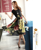Wholesale High Quality Spring Sexy Fashion Short Sleeve Slim Chinese Dress Vintage Retro With Floral Printed