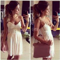 Cheap Wholesale-Patchwork Dress Summer vestidos Women Lady Lace Chiffon V-Neck Button Sling Strap Mini Vest Casual Party Dress 29