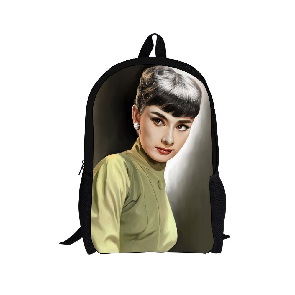 Wholesale-new Audrey Hepburn backpack children school bags for girls  character printing women s backpacks kids backpack ... 0e647388cc