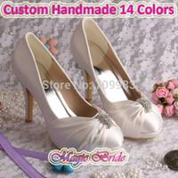 Wholesale Colors Custom Handmade Pump Elegant High Heeled Bridal Shoes Woman Wedding Ivory Satin